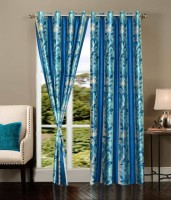 K Decor Polyester Blue Printed Eyelet Door Curtain 84 Inch In Height, Single Curtain