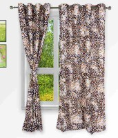 Home Fashion Gallery Polyester Brown Checkered Eyelet Window Curtain 152.4 Cm In Height, Pack Of 2