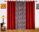 Dekor World Waves In The Air With Solid Window Curtain - Pack Of 3 - CRNDXM38DMTGRXAK
