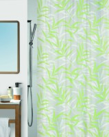Spread Polyester Light Green Printed Curtain Shower Curtain 200 Cm In Height, Single Curtain