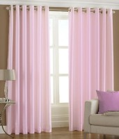 Decor Vatika Polyester Pink Window Curtain 153 Cm In Height, Pack Of 2