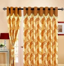 Handloom Hut Polyester Brown Floral Curtain Window Curtain