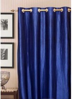 Shopgalore Polyester Blue Plain Eyelet Window & Door Curtain 210 Cm In Height, Single Curtain