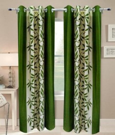 Angel Homes Polyester Green Floral Eyelet Long Door Curtain
