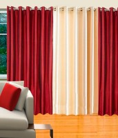 Decor Vatika Polycotton Maroon, Beige Abstract Eyelet Long Door Curtain 274 Cm In Height, Pack Of 3