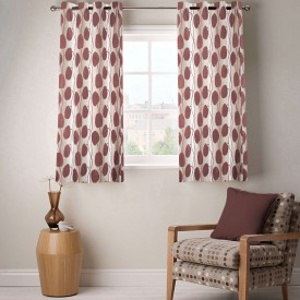 Kings Polycotton Brown Geometric Eyelet Window Curtain