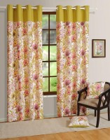 House This Cotton Pink Printed Eyelet Door Curtain 210 Cm In Height, Single Curtain