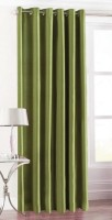 HandloomTrendz Polyester Dark Green Self Design Eyelet Door Curtain 213 Cm In Height, Single Curtain