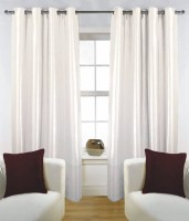 Fabutex Polyester Cream Solid Door Curtain 210 Cm In Height, Pack Of 4