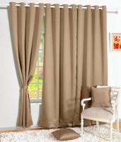Story @ Home Silk Cream Solid Tab Top Door Curtain 215 Cm In Height, Single Curtain