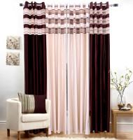 Jojo Designs Polyester Brown Self Design Eyelet Door Curtain 214 Cm In Height, Pack Of 4