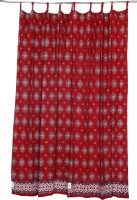 Chhipaprints Cotton Red Printed Concealed Tab Top Long Door Curtain 275 Cm In Height, Single Curtain