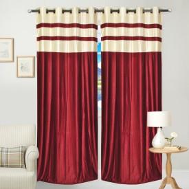 Fresh From Loom Polyester Maroon Abstract Eyelet Door Curtain