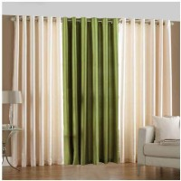 Shop 24 Decor Polyester White, Green Plain Eyelet Window & Door Curtain 210 Cm In Height, Pack Of 3