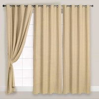Story @ Home Polyester Beige Solid Eyelet Door Curtain 215 Cm In Height, Pack Of 3