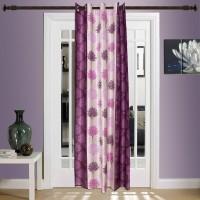 Fabizona Polycotton Cream Floral Eyelet Door Curtain 213 Cm In Height, Single Curtain