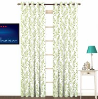 Fabutex Polyester Green With Silver Floral Eyelet Door Curtain 213 Cm In Height, Pack Of 2