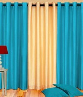 Home Fashion Gallery Polyester Multicolor Plain Eyelet Window Curtain 152.4 Cm In Height, Pack Of 3