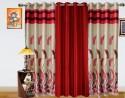 Dekor World Autam Leaf Panel Long Door Curtain - Pack Of 3