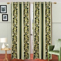 The Intellect Bazaar Polyester Green Abstract Eyelet Door Curtain 214 Cm In Height, Single Curtain