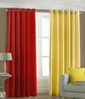 New Royal Polyester Multi-Colour Plain Eyelet Long Door Curtain 274 Cm In Height, Pack Of 2 - CRNEHKYBQCGW9PSG