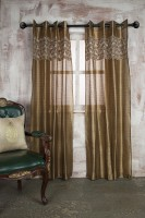 Marigold Polyester Beige Paisley Eyelet Long Door Curtain 228.6 Cm In Height, Single Curtain