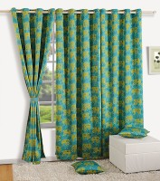 Swayam Satin, Silk Purple, Green Printed Ring Rod Window Curtain 60 Inch In Height, Single Curtain