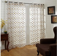 @home Polycotton White, Grey, Yellow Geometric Eyelet Long Door Curtain 213 Cm In Height, Single Curtain