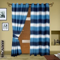 Trendy Home Polyester Blue Geometric Eyelet Door Curtain 203.2 Cm In Height, Pack Of 2