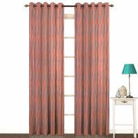 Fabutex Polyester Brown Geometric Eyelet Door Curtain 214 Cm In Height, Pack Of 2