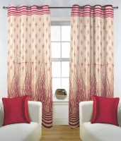 Fabutex Polyester Pink Floral Eyelet Door Curtain 210 Cm In Height, Pack Of 2
