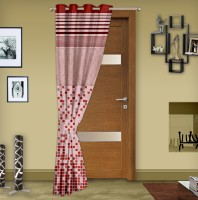 Story@Home Jacquard Red Printed Eyelet Door Curtain 215 Cm In Height, Single Curtain