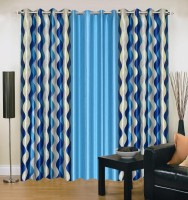 Brand Decor Polyester Blue Geometric Eyelet Door Curtain 214 Cm In Height, Pack Of 3