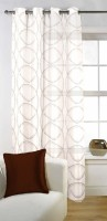 Fabutex Tissue Brown Geometric Eyelet Door Curtain 213 Cm In Height, Single Curtain