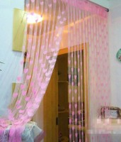 Homesazz Net Light Pink Door Curtain 205 Cm In Height, Pack Of 2