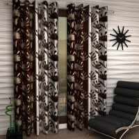 Home Sizzler Polyester Brown Floral Eyelet Door Curtain 210 Cm In Height, Pack Of 2