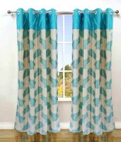 Shopgrab Polycotton Multi Color Printed Eyelet Curtain 152 Cm In Height, Pack Of 2