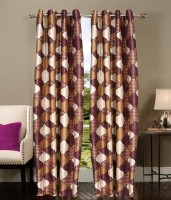 Welhouse India Polyester Brown Abstract Ring Rod Long Door Curtain 30 Cm In Height, Single Curtain