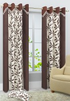 Homefab India Polyester Brown Floral Eyelet Curtain 240 Cm In Height, Single Curtain
