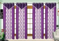 Comfort Zone Polyester Blue And White Damask Eyelet Long Door Curtain (274.32 Cm In Height, Pack Of 4)