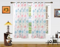 Dekor World Net Pink, Blue Floral Eyelet Window Curtain 150 Cm In Height, Pack Of 2