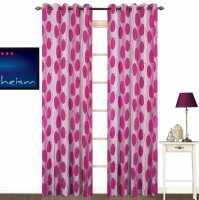 Kings Polycotton Pink Geometric Eyelet Door Curtain 213 Cm In Height, Pack Of 2