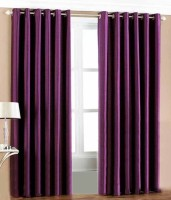 Jh Decore Polyester Purple Damask Eyelet Window Curtain 150 Cm In Height, Pack Of 2