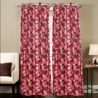 Smart Home Polyester Multicolor Floral Eyelet Door Curtain 210 Cm In Height, Single Curtain