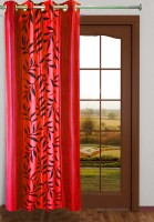 Homefab India Polyester Red Floral Eyelet Long Door Curtain 274.32 Cm In Height, Single Curtain