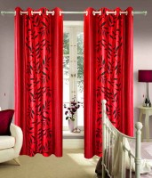 Homefab India Polyester Red Floral Door Curtain 213.36 Cm In Height, Single Curtain