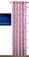 Fabutex Polycotton Pink Printed Eyelet Door Curtain 213 Cm In Height, Single Curtain