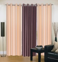 Dreamshomes Polyester Multicolour Solid Eyelet Door Curtain 84 Inch In Height, Pack Of 3