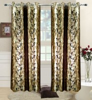 Homefab India Polyester Brown Printed Eyelet Shower Curtain 180 Cm In Height, Single Curtain
