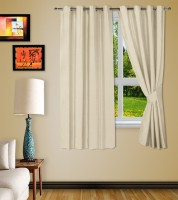 Story @ Home Jacquard Beige Printed Eyelet Window Curtain 152 Cm In Height, Pack Of 2